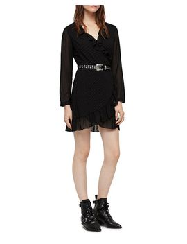 Kiyah Shimmer Studded Wrap Dress by Allsaints