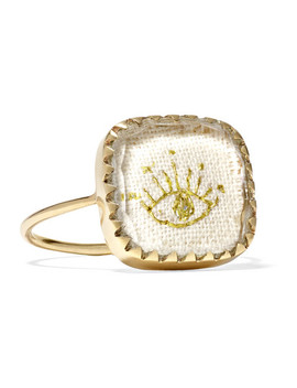 Blossom N°2 9 Karat Gold, Cotton And Glass Ring by Pascale Monvoisin