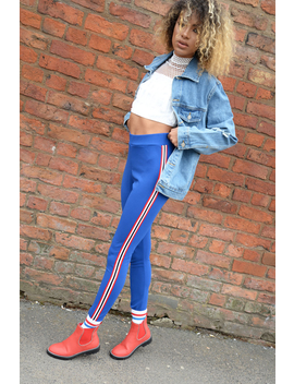 Royal Blue Contrast Side Stripe Trousers   Arva by Rebellious Fashion