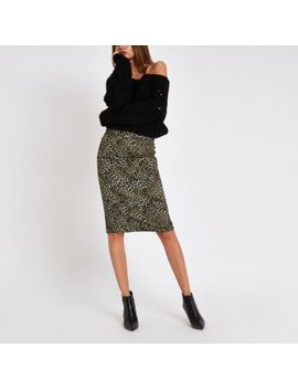 Brown Ponte Leopard Print Belted Pencil Skirt by River Island