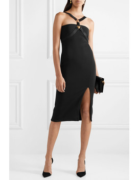 Embellished Satin Trimmed Crepe Midi Dress by Versace