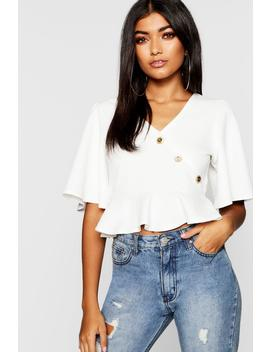Wrap Front Button Detail Top by Boohoo