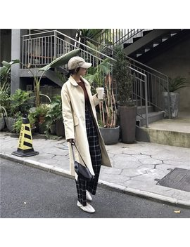 2018 New Arrival Octeyam Casual Broadcloth Full Long Turn Down Collar Single Breasted Slim Solid Trench Coat  by Octeyam