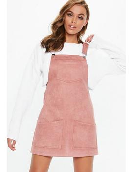 Pink Faux Suede Pinafore Dress by Missguided