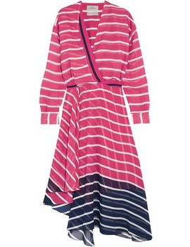 Flintoff Wrap Effect Striped Two Tone Silk Chiffon Dress by Preen By Thornton Bregazzi