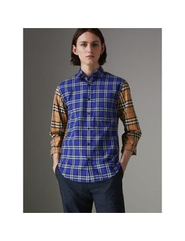 Contrast Check Cotton Shirt by Burberry