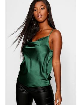 Satin Cowl Front Woven Cami by Boohoo