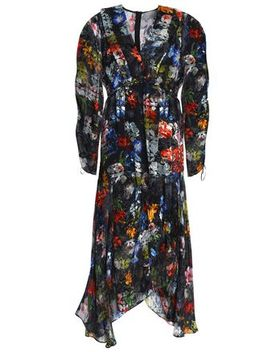 Ruched Devoré Floral Print Chiffon Maxi Dress by Preen By Thornton Bregazzi