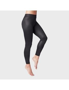 Women's Shiny Black Fleece Lined Leggings by A New Day