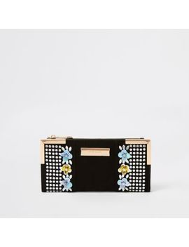 Black Sequin Embellished Foldout Purse by River Island