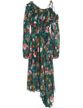 Asymmetric Devoré Floral Print Silk Blend Chiffon Midi Dress by Preen By Thornton Bregazzi