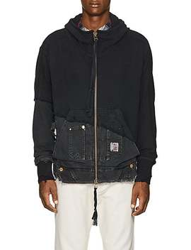 Cotton Terry & Canvas Hoodie by Greg Lauren