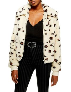 Animal Faux Fur Jacket by Topshop
