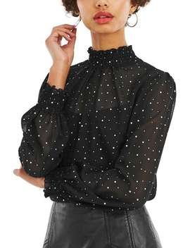 Studded Sheared Neck Top by Oasis