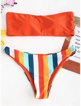 Bandeau Rainbow Striped Bikini Set   Bright Orange S by Zaful