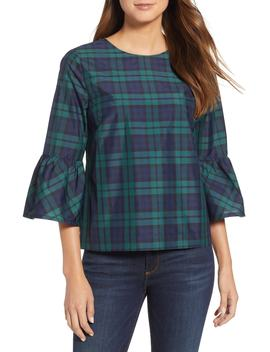Ruffle Sleeve Blackwatch Plaid Top by Vineyard Vines
