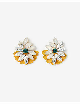 Large Flower Leather Drop Earrings by Express