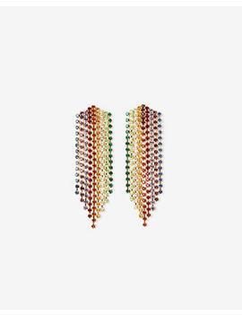 Rainbow Rhinestone Fringe Drop Earrings by Express