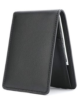 Men's Slim Leather Wallet Small Billfold Front Pocket Wallet With Rfid Blocking Id Window by Water Fox