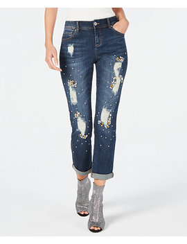 I.N.C. Curvy Crystal Embellished Distressed Boyfriend Jeans, Created For Macy's by Inc International Concepts
