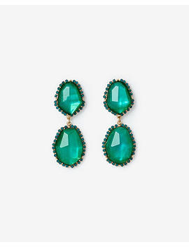 Double Faceted Stone Drop Earrings by Express