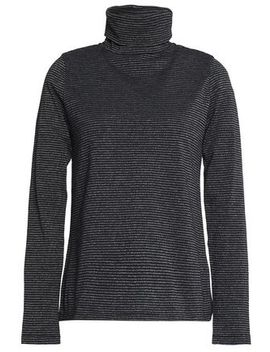 Range Polo Metallic Striped Cotton Blend Turtleneck Top by M.I.H Jeans