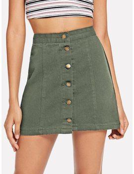 Single Breasted Denim Skirt by Romwe