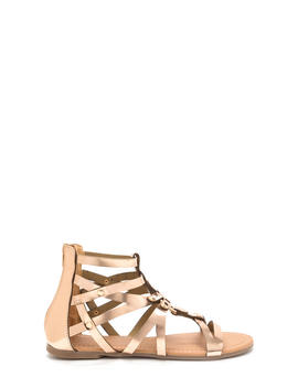 Roman Holiday Caged Metallic Sandals by Go Jane