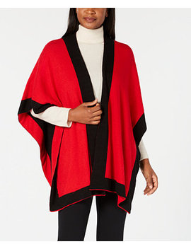 Solid Knit Reversible Poncho, Created For Macy's by Charter Club