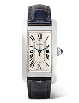 Tank Américaine 22.6mm Medium Stainless Steel And Alligator Watch by Cartier