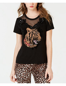 Embellished Mesh Trim T Shirt by Guess
