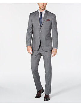 Men's Portfolio Slim Fit Stretch Light Gray Windowpane Suit by Perry Ellis