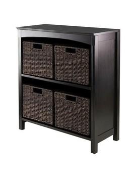 Terrace 5 Piece Set Storage Shelf With Baskets     Espresso, Chocolate   Winsome by Winsome
