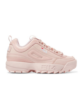 Disruptor Ii Premium Logo Embroidered Leather Sneakers by Fila