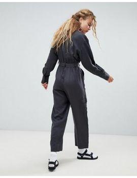 Weekday Tencel Pocket Detail Utility Jumpsuit In Gray by Weekday