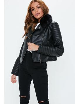 Black Faux Leather Biker Jacket With Faux Fur Collar by Missguided