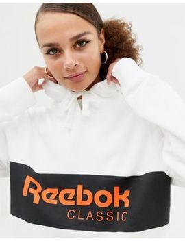 Reebok Classics White Logo Pullover Hoodie by Reebok