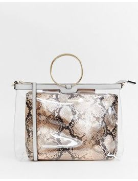 River Island Grab Handle Bag With Snake Pouch In Clear by River Island