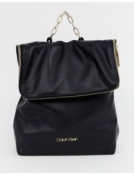 Calvin Klein Fold Over Backpack With Chain Detail by Calvin Klein