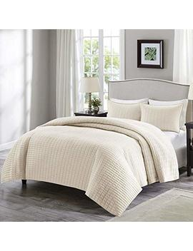 Comfort Spaces   Kienna Quilt Mini Set   3 Piece   Ivory   Stitched Quilt Pattern   Full/Queen Size, Includes 1 Quilt, 2 Shams by Comfort Spaces