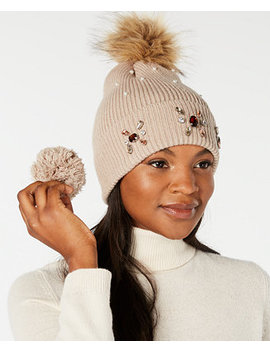 Embellished Beanie With Pom Pom, Created For Macy's by Echo