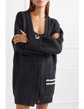 Oversized Intarsia Wool Blend Cardigan by Off White
