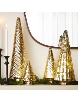 Antiqued Glass Gold Trees, Set Of 4 by Crate&Barrel