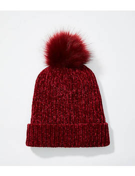 Chenille Faux Fur Pom Pom Hat by Loft