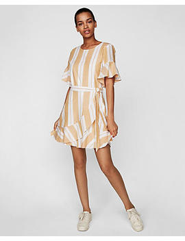 Petite Striped Wrap Front Dress by Express