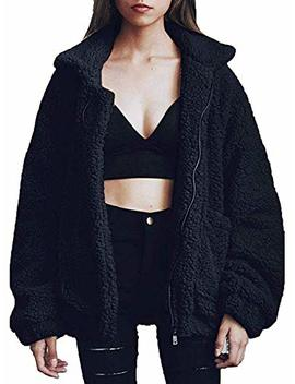 Teafor Womens Fashion Long Sleeve Lapel Zip Up Faux Shearling Shaggy Oversized Coat Jacket With Pockets by Teafor