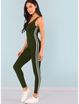 Open Shoulder Striped Side Skinny Jumpsuit by Shein