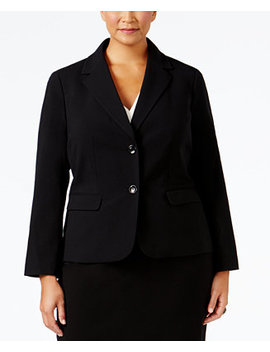 Plus Size Crepe Two Button Jacket by Nine West