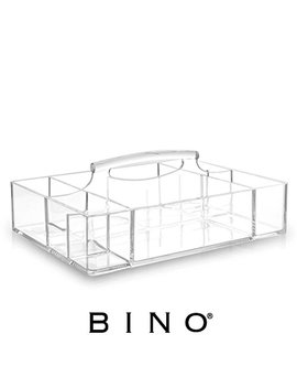 Bino 'the Glamour Caddy' 9 Compartment Acrylic Makeup And Jewelry Organizer With Carrying Handle, Clear And Transparent Cosmetic Beauty Vanity Holder Storage by Bino