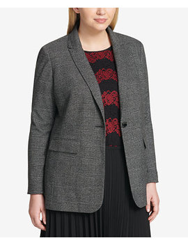 Plus Size One Button Plaid Blazer by Calvin Klein